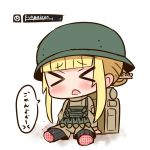 >_< 1girl amputee backpack bag bangs black_legwear blonde_hair blunt_bangs blush brown_jacket brown_shorts closed_eyes commentary_request d: double_amputee eyebrows_visible_through_hair facing_viewer fukaziroh_(sao) hair_bun hana_kazari head_tilt health_bar helmet jacket knife knife_in_hair long_sleeves open_mouth pantyhose short_shorts shorts sidelocks sitting solo sword_art_online sword_art_online_alternative:_gun_gale_online translated trench_knife