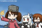 3girls :d ahoge aircraft airplane anchor blue_sky brown_eyes brown_hair cannon chibi closed_eyes commentary_request dated day fang hair_ornament hairclip hamu_koutarou horns ikazuchi_(kantai_collection) kantai_collection long_hair machinery magatama mittens mountain multiple_girls neckerchief northern_ocean_hime ocean onmyouji open_mouth red_eyes ryuujou_(kantai_collection) school_uniform serafuku shinkaisei-kan short_hair sky smile translated twintails visor_cap white_hair white_skin