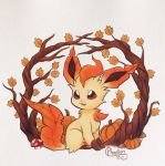 alternate-colored_non-shiny_pokemon alternate_color artist_name autumn autumn_leaves brown_eyes brown_sclera commentary dated english_commentary full_body gen_4_pokemon happy highres leaf leafeon mushroom no_humans open_mouth phoelion pokemon pokemon_(creature) pumpkin scan signature sitting smile solo traditional_media tree white_background