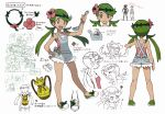 1girl absurdres artist_request backpack bag dark_skin flower gen_1_pokemon green_eyes green_hair hair_flower hair_ornament highres ladle mao_(pokemon) official_art overalls pikachu pokemon pokemon_(anime) pokemon_(creature) pokemon_(game) pokemon_sm reference_sheet satoshi_(pokemon) scan strapless translation_request trial_captain tubetop zumi_(pokemon)