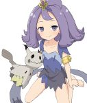 1girl acerola_(pokemon) armlet bangs bare_legs barefoot blush closed_mouth collarbone dress elite_four flipped_hair gen_7_pokemon hair_ornament highres mimikyu multicolored multicolored_clothes multicolored_dress parted_bangs pokemon pokemon_(anime) pokemon_(creature) pokemon_sm_(anime) purple_dress purple_hair short_dress short_hair short_sleeves simple_background sitting smile solo stitches trial_captain violet_eyes wariza white_background yakihebi