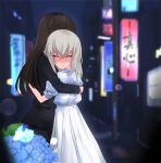 2girls age_difference alternate_costume blush casual closed_eyes commentary_request dress flower girls_und_panzer highres hug itsumi_erika lamppost multiple_girls night nishizumi_shiho road road_sign sign street toku_(yhpv8752) yuri