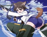 1girl angry animal_ear_fluff animal_ears anime_coloring ass bangs bent_over black_eyes black_hair blue_neckwear blue_sailor_collar blue_sky blue_swimsuit blush breasts clouds dog_ears dog_tail drum_magazine floating from_side gun hair_between_eyes hide_0 holding holding_gun holding_weapon ironsights legs_apart long_sleeves looking_at_viewer looking_back looking_to_the_side machine_gun mecha_musume midair miyafuji_yoshika neckerchief one-piece_swimsuit open_mouth outdoors outstretched_arm parted_bangs sailor_collar school_swimsuit school_uniform serafuku shirt short_hair sky small_breasts solo strap strike_witches striker_unit swimsuit swimsuit_under_clothes tail tail_through_clothes thighs trigger_discipline type_99_cannon upshirt v-shaped_eyebrows weapon white_shirt wind world_witches_series