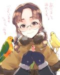 1girl akeome animal bangs bird_request blush braid breath brown_coat brown_eyes chinese_zodiac closed_mouth coat commentary dated eyebrows_visible_through_hair fukuda_(girls_und_panzer) girls_und_panzer glasses hair_over_shoulder happy_new_year head_tilt holding holding_animal holding_bird long_hair long_sleeves looking_at_viewer mittens new_year parted_bangs round_eyewear smile solo standing translated twin_braids twintails umiu_(hoge) upper_body white_background year_of_the_rooster