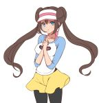 1girl black_legwear blue_eyes blue_shirt bow breasts brown_hair closed_mouth collarbone commentary_request cowboy_shot double_bun hands_together hands_up legwear_under_shorts long_hair looking_at_viewer medium_breasts mokorei pantyhose pink_bow poke_ball_print pokemon pokemon_special raglan_sleeves sad shirt shorts simple_background sleeves_past_elbows solo twintails visor_cap whi-two_(pokemon) white_background white_shirt yellow_shorts