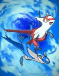 absurdres artist_request blue_sky claws clouds day dragon flying full_body gen_3_pokemon happy highres latias latios no_humans official_art open_mouth outdoors pokemon pokemon_(creature) red_eyes sky smile yellow_eyes