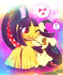 ? artist_name black_hair blush commentary_request extra_mouth flying_sweatdrops full_body gen_3_pokemon gen_7_pokemon hakkasame heart hug knees_up looking_at_another mawile mimikyu one_eye_closed pink_background pokemon pokemon_(creature) red_eyes sharp_teeth smile spoken_heart spoken_question_mark stick teeth twitter_username