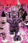 80s alex_milne closed_mouth colorful commentary decepticon disembodied_head english_commentary high_contrast holding_head looking_at_viewer machinery mecha no_humans official_art oldschool outdoors overlord_(idw) overlord_(transformers) pink_theme polearm red_eyes science_fiction smile solo spear teeth the_transformers_(idw) transformers weapon