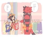 1girl blush braid brown_hair closed_eyes clothes_hanger collarbone commentary floral_print flower halterneck happy hat hat_flower holding incineroar komasawa_(fmn-ppp) mizuki_(pokemon) open_mouth pikachu pointing pokemon pokemon_(creature) pokemon_(game) pokemon_usum shirt shop shopping shorts sleeveless sleeveless_shirt smile speech_bubble straw_hat sun_hat surfing tank_top translated twin_braids