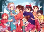 arrietty bird braid breasts brown_eyes brown_hair child closed_mouth commentary_request crossover dress everyone flower gake_no_ue_no_ponyo hairband hat highres holding_hands howl_no_ugoku_shiro karigurashi_no_arrietty kiki kusakabe_mei kusakabe_satsuki long_hair looking_at_viewer majo_no_takkyuubin multiple_girls ogino_chihiro ponyo ponytail redhead ribbon sen_to_chihiro_no_kamikakushi sheeta shirajira_(pixiv7181724) short_hair sophie_hatter studio_ghibli tenkuu_no_shiro_laputa tied_hair tonari_no_totoro twintails white_bird white_hair
