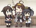 +++ 3girls ahoge anchor_symbol bare_shoulders black_serafuku boots braid brown_eyes brown_hair commentary_request dated detached_sleeves double_bun dress eating eating_hair fingerless_gloves gloves grey_hair hair_bun hair_ornament hair_over_shoulder hairband hamu_koutarou headgear kantai_collection kongou_(kantai_collection) long_hair multiple_girls neckerchief nontraditional_miko pantyhose pleated_skirt remodel_(kantai_collection) ribbon-trimmed_sleeves ribbon_trim sailor_dress school_uniform serafuku shigure_(kantai_collection) short_hair_with_long_locks single_braid skirt thigh-highs thigh_boots tokitsukaze_(kantai_collection) translated