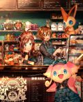 1boy 1girl ahoge alcohol antenna_hair apron arm_up artist_name audino bad_id bad_pixiv_id bag bangs black_eyes black_neckwear black_shirt blue_apron blue_eyes blue_headwear blush bottle bread brown_eyes brown_hair cafe cake chalkboard chin_rest closed_mouth clothed_pokemon coffee coffee_maker_(object) commentary_request counter cup cupcake drinking_glass eating employee_uniform english_text flour food gen_5_pokemon hand_up hands_up happy hat high_ponytail holding honey honey_dipper indoors jam jar kettle long_sleeves looking_at_another looking_at_viewer menu_board naru_(andante) neckerchief open_mouth overalls paper_bag patrat pokemon pokemon_(creature) pokemon_(game) pokemon_bw ponytail red_sclera sandwich shelf shiny shiny_hair shirt short_hair signature sitting smile spoon standing string_of_flags teeth tied_hair touko_(pokemon) touya_(pokemon) uniform victini wristband