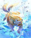 blue_eyes bubble fang floatzel full_body gen_4_pokemon multiple_tails nagakura_(seven_walkers) no_humans open_mouth pokemon pokemon_(creature) smile solo swimming tail two_tails underwater water