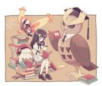 1girl ? alternate_costume bangs belt beret black_bow black_eyes black_footwear black_hair black_neckwear blush book bow bowtie brown_background brown_sweater closed_eyes closed_mouth clothed_pokemon eyebrows_visible_through_hair full_body hair_ornament hairclip hand_up hat hikari_(pokemon) holding kneehighs komasawa_(fmn-ppp) light_blush long_hair long_sleeves looking_at_another looking_down mothim necktie noctowl one_eye_closed open_book orange_sclera pleated_skirt pokemon pokemon_(creature) pokemon_(game) pokemon_dppt reading red_eyes red_headwear shiny shiny_hair shirt shoes sitting skirt sleeping snover standing sweater white_legwear white_shirt white_skirt younger