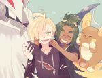 !? 2boys alolan_raichu black_jacket black_shirt blonde_hair blush blush_stickers cheek_pinching cheek_pull closed_eyes closed_mouth collarbone dark_skin dark_skinned_male flying_sweatdrops forced_smile gladio_(pokemon) green_background green_eyes green_hair grey_eyes hair_ornament hair_over_one_eye hairclip hand_up hands_up happy hau_(pokemon) jacket komasawa_(fmn-ppp) long_sleeves male_focus multiple_boys nose_blush pinching pokemon pokemon_(creature) pokemon_(game) pokemon_sm shiny shiny_hair shirt short_sleeves silvally simple_background smile sweat torn_clothes upper_body