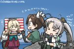 >_< 3girls :3 :d ahoge akigumo_(kantai_collection) akitsushima_(kantai_collection) blue_sky blush brown_hair cannon chibi closed_eyes commentary_request dated day drawing elbow_gloves flying_sweatdrops gloves grey_hair hair_ribbon hamu_koutarou headgear iowa_(kantai_collection) kantai_collection long_hair machinery multiple_girls ocean open_mouth ponytail ribbon side_ponytail sidelocks single_elbow_glove sketchbook sky smile star star-shaped_pupils symbol-shaped_pupils tone_(kantai_collection) translated twintails white_gloves white_ribbon
