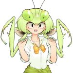 1girl :d antennae black_eyes bow bowtie claw_pose clothes_around_waist collared_shirt evolvingmonkey green_hair green_nails hands_up highres insect_girl looking_at_viewer mantis_akiyama nail_polish open_mouth original praying_mantis school_uniform sharp_teeth shirt simple_background sleeves_rolled_up smile solo sweater_around_waist teeth twintails upper_body white_background