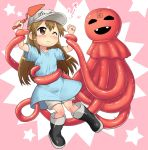 1girl arms_up bangs black_eyes black_footwear blue_shirt blush boots brown_eyes brown_hair child clenched_hand closed_mouth clothes_writing collarbone commentary_request eyebrows_visible_through_hair full_body hase_yu hataraku_saibou holding jpeg_artifacts long_hair looking_at_another monster open_mouth oversized_clothes oversized_shirt pink_background platelet_(hataraku_saibou) restrained shiny shiny_clothes shiny_hair shiny_skin shirt short_sleeves shorts smile star tears teeth tentacles translation_request trowel two-tone_background white_shorts you_gonna_get_raped