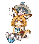 2girls :d ^_^ animal_ears bangs black_gloves blush boots bow bowtie brown_eyes brown_hair closed_eyes commentary ear_fondling elbow_gloves eyebrows_visible_through_hair gloves green_hair grey_shorts hair_between_eyes hat_feather helmet high-waist_skirt hono kaban_(kemono_friends) kemono_friends knee_boots kneeling lucky_beast_(kemono_friends) multiple_girls open_mouth pith_helmet print_gloves print_neckwear print_skirt serval_(kemono_friends) serval_ears serval_print serval_tail shirt short_shorts shorts sitting skirt sleeveless sleeveless_shirt smile striped_tail tail translated white_background white_footwear white_shirt