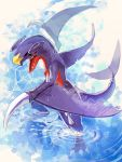 arms_up black_sclera blue_background claws dragon full_body garchomp gen_4_pokemon highres looking_at_viewer motion_blur nagakura_(seven_walkers) no_humans open_mouth pokemon pokemon_(creature) sharp_teeth solo spikes standing teeth wading water yellow_eyes