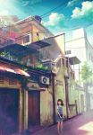 1girl absurdres air_conditioner awning brown_hair chong_feigiap clouds day highres house looking_away malaysia medium_hair original outdoors power_lines railing real_world_location scenery seremban sky solo stairs standing