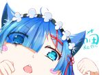 1girl ahoge animal_ears aqua_eyes asymmetrical_bangs bangs blue_hair blunt_bangs blush_stickers cat_ears cat_girl character_name chestnut_mouth chinese_commentary close-up commentary_request eyebrows_visible_through_hair eyelashes eyes_visible_through_hair face flower_knot hair_ornament hair_over_one_eye hair_ribbon hands_up highres kemonomimi_mode kotori_photobomb lez looking_at_viewer maid maid_headdress open_mouth paw_pose re:zero_kara_hajimeru_isekai_seikatsu red_ribbon rem_(re:zero) ribbon round_teeth shiny shiny_hair short_hair simple_background sketch_eyebrows solo teeth translated v-shaped_eyebrows white_background x_hair_ornament