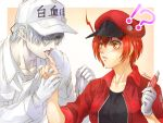 !? 1boy 1girl ae-3803 ahoge baseball_cap black_eyes black_shirt bleeding blood blush boxcutter cabbie_hat canal001 commentary finger_licking gloves gloves_removed gradient gradient_background hair_over_one_eye hat hataraku_saibou holding holding_gloves holding_hand holding_knife jacket knife licking open_mouth orange_eyes parted_lips red_blood_cell_(hataraku_saibou) red_jacket redhead shirt short_hair surprised translated u-1146 uniform white_blood_cell_(hataraku_saibou) white_gloves white_hair white_headwear white_skin