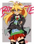 1girl alternate_costume blonde_hair blue_eyes bowsette crossed_arms crown earrings gurepyon headphones horns jewelry mario_(series) monster_girl new_super_mario_bros._u_deluxe nintendo nintendo_ead pointy_ears princess sharp_teeth skirt spiked_shell spiked_tail super_crown tail teeth thigh-highs turtle_shell