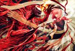 1boy 1girl bad_anatomy battle blank_eyes blood breasts carnage_(marvel) claws commentary crossover duel elfen_lied engrish_commentary fahad-naeem horns lucy_(elfen_lied) marvel mask open_mouth pink_eyes pink_hair realistic red_eyes sharp_teeth short_hair spider-man_(series) symbiote teeth tentacles vectors