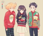 1girl 2boys alternate_costume arms_behind_back beige_background bibarel black_eyes black_hair blonde_hair blue_pants blush christmas closed_mouth eyebrows_visible_through_hair flat_chest green_pants green_sweater hair_ornament hairclip hand_in_pocket hands_in_pockets hikari_(pokemon) jun_(pokemon) komasawa_(fmn-ppp) kouki_(pokemon) light_blush long_hair long_sleeves looking_at_viewer multicolored_sweater multiple_boys orange_eyes pants plaid plaid_pants pleated_skirt pokemon pokemon_(game) pokemon_dppt red_sweater short_hair simple_background skirt standing sweater tied_hair ugly_sweater white_skirt