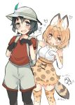 2girls abenattou animal_ears artist_name backpack bag bangs black_eyes black_gloves black_hair blonde_hair bow bowtie brown_shorts claw_pose commentary_request elbow_gloves extra_ears eyebrows_visible_through_hair gloves hat_feather heart helmet high-waist_skirt holding_strap kaban_(kemono_friends) kemono_friends leaning_to_the_side legwear_under_shorts looking_at_another looking_at_viewer multiple_girls open_mouth pantyhose pith_helmet print_gloves print_legwear print_neckwear print_skirt red_shirt serval_(kemono_friends) serval_ears serval_print serval_tail shirt short_hair short_sleeves shorts skirt sleeveless sleeveless_shirt smile standing striped_tail tail thigh-highs translated white_gloves white_shirt white_skirt yellow_eyes yellow_legwear