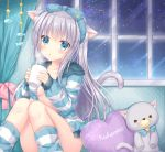 1girl animal_ears bangs blush breasts cat_ears cat_girl cat_tail commentary_request convenient_leg cup curtains grey_hair hair_between_eyes hair_ribbon highres holding indoors knees_together_feet_apart kohinata_hoshimi long_hair looking_at_viewer medium_breasts mug no_bra no_panties open_clothes original parted_lips pillow polka_dot ribbon sideboob sitting socks solo sparkle star striped striped_legwear stuffed_animal stuffed_toy tail window