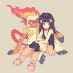 1girl arm_support bangs bare_shoulders black_eyes black_hair black_legwear black_shirt blue_eyes boots closed_mouth crossed_arms fire flat_chest full_body furry green_background hair_ornament hairclip hikari_(pokemon) infernape knee_boots knee_up kneehighs knees_together_feet_apart knees_up komasawa_(fmn-ppp) long_hair looking_to_the_side miniskirt pink_footwear pink_skirt pokemon pokemon_(creature) pokemon_(game) pokemon_dppt red_scarf scarf shirt simple_background sitting sitting_on_lap sitting_on_person skirt sleeveless sleeveless_shirt tied_hair wristband yellow_sclera