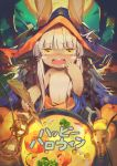 1other alternate_costume animal_ears blush cauldron commentary_request drooling food halloween hat horns jofang lantern made_in_abyss monster_girl moon nanachi_(made_in_abyss) onion open_mouth partial_commentary pumpkin solo soup stick tears text_focus translated whiskers white_hair yellow_eyes