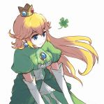 1girl alternate_color bangs blonde_hair blue_eyes breasts brooch closed_mouth clover crown dress earrings elbow_gloves eyebrows_visible_through_hair floating_hair four-leaf_clover gem gloves green_dress hair_between_eyes jewelry long_hair mario_(series) medium_breasts misowhite princess princess_peach puffy_short_sleeves puffy_sleeves short_sleeves smile solo super_smash_bros. white_gloves