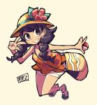 1girl bag bangs black_eyes black_hair braid chichibu_(chichichibu) flower full_body grin handbag hat hat_flower hibiscus hibiscus_print holding holding_poke_ball mizuki_(pokemon) orange_headwear orange_shirt poke_ball poke_ball_(generic) pokemon pokemon_(game) pokemon_usum puffy_shorts red_flower shirt shorts smile solo swept_bangs tank_top teeth twin_braids white_shorts