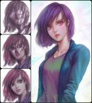 1girl aqua_shirt commentary david_mccartney english_commentary highres lips looking_at_viewer open_clothes open_shirt parted_lips pink_eyes pink_lips purple_hair shirt short_hair solo speedpaint tan_shirt