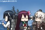 3girls :d amatsukaze_(kantai_collection) black_hair blue_sky blush brown_eyes brown_hair cannon chibi closed_eyes commentary_request dated day gloves hair_ornament hair_ribbon hamu_koutarou hayashimo_(kantai_collection) kantai_collection kisaragi_(kantai_collection) long_hair machinery map multiple_girls ocean open_mouth remodel_(kantai_collection) rensouhou-kun ribbon school_uniform serafuku shinkaisei-kan sky smile smokestack translated very_long_hair