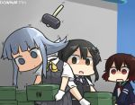 3girls ascot black_hair black_skirt box brown_hair commentary_request dated decapitation disembodied_head gloves gradient_hair green_eyes hair_ornament hairclip hammer hamu_koutarou hatsukaze_(kantai_collection) hime_cut jacket kantai_collection long_hair multicolored_hair multiple_girls mutsuki_(kantai_collection) open_mouth oyashio_(kantai_collection) pleated_skirt redhead remodel_(kantai_collection) school_uniform serafuku shaded_face shirt short_hair short_sleeves skirt translated vest white_gloves white_hair white_shirt