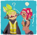 ... ? black_eyes black_shirt blue_background blush bracelet chichi_band closed_mouth commentary_request crop_top dark_skin directional_arrow from_side frown green_hair hands_together headgear inkling interlocked_fingers jewelry looking_at_viewer makeup mascara midriff octarian octoling pointy_ears redhead shirt short_hair splatoon_(series) splatoon_2 splatoon_2:_octo_expansion spoken_ellipsis squidbeak_splatoon standing staring tentacle_hair topknot translated upper_body vest violet_eyes watermark yellow_vest