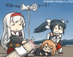 3girls :o anger_vein annoyed bench blue_sky brown_hair chibi clenched_teeth closed_eyes commentary_request dated day dragging flight_deck glasses hair_ribbon hairband hakama_skirt hamu_koutarou handheld_game_console isuzu_(kantai_collection) japanese_clothes kantai_collection long_hair loudspeaker lying mochizuki_(kantai_collection) multiple_girls muneate neckerchief on_side playstation_portable polishing ribbon school_uniform serafuku shoukaku_(kantai_collection) sitting_on_bench sky smile solid_oval_eyes sparkle teeth translated twintails