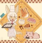 1girl 1other animal_ears baking_sheet blush character_name chef_hat chef_uniform doughnut eyebrows_visible_through_hair food fork hat kawasemi27 looking_at_another made_in_abyss medium_hair mitty_(made_in_abyss) nanachi_(made_in_abyss) parted_lips smile spoon standing tail toque_blanche white_hair white_headwear yellow_eyes