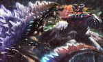 70s aureusmaximus battle city claws clouds cloudy_sky crossover epic glowing godzilla godzilla_(series) kaijuu mazinger_z mazinger_z_(mecha) mecha monster no_humans oldschool outdoors pilder rain science_fiction sharp_teeth sky spikes super_robot tail teeth water