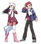 1boy 1girl absurdres adjusting_headwear arm_up artist_name backpack bag beanie black_eyes black_hair black_pants blue_eyes blue_jacket boots bracelet bumbum_hico coat duffel_bag flat_chest full_body grey_footwear hair_ornament hairclip hand_up happy hat highres hikari_(pokemon) holding jacket jewelry kouki_(pokemon) long_hair long_sleeves open_mouth outstretched_arm pants pink_footwear poke_ball_symbol poke_ball_theme pokemon pokemon_(game) pokemon_dppt pokemon_platinum red_coat red_headwear red_shirt scarf shirt short_hair simple_background smile standing teeth thigh-highs twitter_username waving white_background white_headwear white_legwear white_scarf winter_clothes