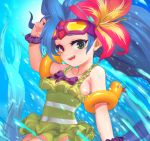 1girl :d air_bubble blue_hair bow breasts bubble fish flower frilled_swimsuit frills goggles goggles_on_head green_eyes hair_flower hair_ornament hand_up heterochromia highres league_of_legends long_hair looking_at_viewer open_mouth pd_(pdpdlv1) pool_party_zoe purple_bow rubber_duck scrunchie small_breasts smile swimsuit underwater upper_body very_long_hair violet_eyes water wristband zoe_(league_of_legends)