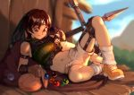 1girl arm_guards armor bag blurry blurry_background breasts brown_eyes brown_gloves brown_hair commentary day english_commentary final_fantasy final_fantasy_vii fingerless_gloves forehead_protector full_body gloves green_sweater hand_on_leg headband holding holding_bag knee_up leg_warmers looking_down lying materia medium_breasts midriff mountain navel ninja on_side open_fly outdoors ribbed_sweater shade shoes short_hair shorts shoulder_armor shuriken single_bare_shoulder single_sleeve sky sleeveless sleeveless_turtleneck smile sneakers solo spread_legs stomach sunlight sweater thighs turtleneck typo_(requiemdusk) unzipped weapon white_legwear white_shorts yellow_footwear yuffie_kisaragi