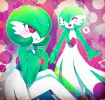 1girl artist_name blush blush_stickers closed_eyes closed_mouth commentary_request gardevoir gen_3_pokemon green_hair hair_over_one_eye hakkasame hands_up happy heart knees_up light_blush multiple_views no_humans open_mouth pink_background pokemon pokemon_(creature) red_eyes short_hair sitting smile speech_bubble spoken_heart standing twitter_username