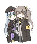 2girls armband arms_at_sides balkenkreuz bangs beret black_headwear black_jacket blunt_bangs blush_stickers breast_conscious brown_eyes brown_hair clothes_writing crossed_bangs eyebrows_visible_through_hair facial_hair flat_chest girls_frontline gloves green_eyes hair_ornament hat highres hk416_(girls_frontline) iron_cross jacket long_hair multiple_girls neck_ribbon omnisucker ribbon scar scar_across_eye side_ponytail sidelocks silver_hair teardrop trembling ump45_(girls_frontline) uniform white_gloves