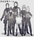 6+girls absurdres ahoge bangs belt blouse boots closed_mouth combat_boots commentary_request cross-laced_footwear fringe_trim frown girls_und_panzer glove_pull gloves greyscale hair_bun half-closed_eyes hand_on_hip hands_on_hips highres jacket knee_pads light_particles loafers long_hair looking_at_viewer medium_hair miniskirt monochrome multiple_girls neckerchief original pants plaid plaid_skirt pleated_skirt scarf school_uniform serafuku shadow shawl shoes short_hair short_sleeves side-by-side sidelocks skirt sleeves_rolled_up smile socks standing tactical_clothes translated utility_belt v-shaped_eyebrows zennosuke