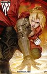 1boy ahoge artist_logo artist_name automail black_pants blonde_hair boots braid ceasar_ian_muyuela chest coat commentary edward_elric french_braid fullmetal_alchemist highres hooded_coat kneeling looking_at_viewer magic magic_circle male_focus mechanical_arm open_clothes open_mouth pants red_coat shirtless single_braid solo tied_hair watermark web_address yellow_eyes